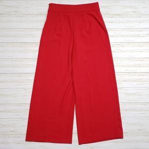 Zara Woman Red High Waisted Pants Wide Leg Trouser